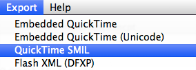 Selecting QuickTime SMIL from MovieCaptioner's Export menu