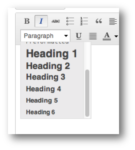 screen shot of format dropdown menu, showing the heading options 1-6