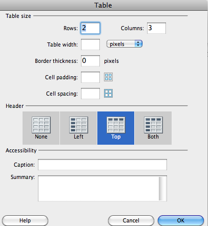 Dreamweaver Tables Properties Window. See next section for more details