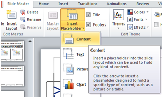 Screenshot of the Insert Place holder and drop down selections, highlighting the Content choice.