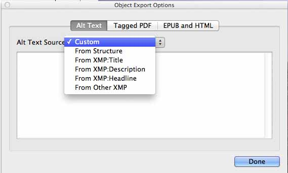 View o Object Export Options pane to customize Alt text