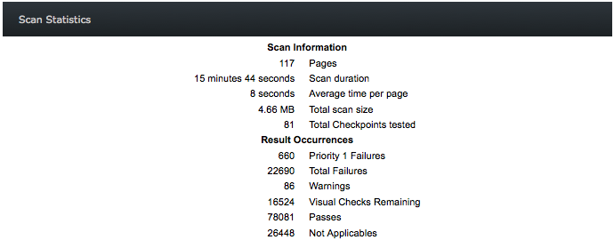 Screen shot example: Scan Information and Result Occurences