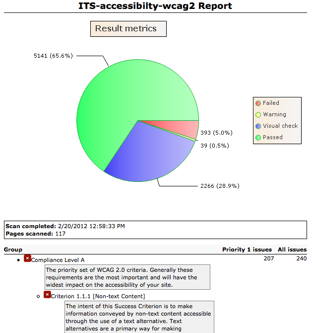 Screen shot example: ITS-accessibility-wcag2 Report, Result metrics, Key: Failed, Warning, Visual Check