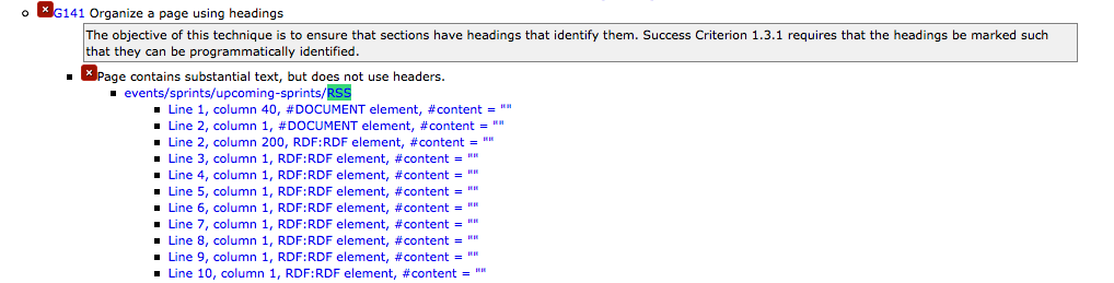 Screen shot example: Page contains substantial text but does not contain headings