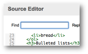 Source Editor Find field