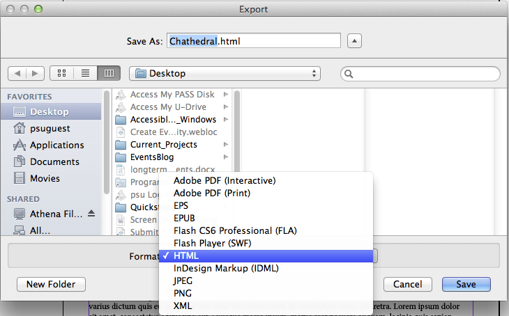Export pane, selecting HTML format screen shot