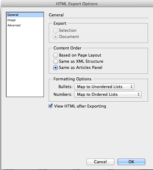 HTML Export Options pane screen shot