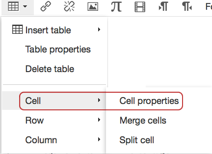 Table menu showing Cell Properties option