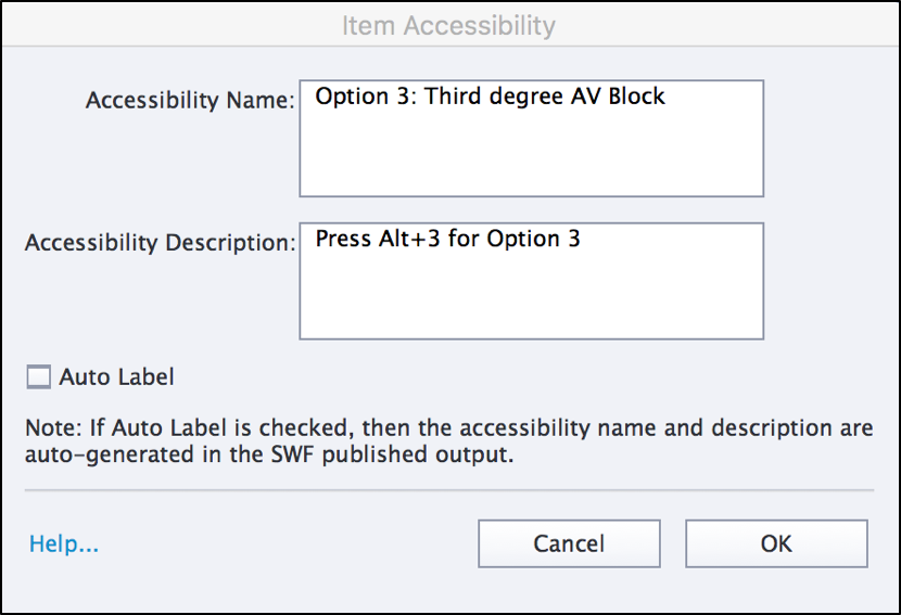 Item Accessibility window. See details below.