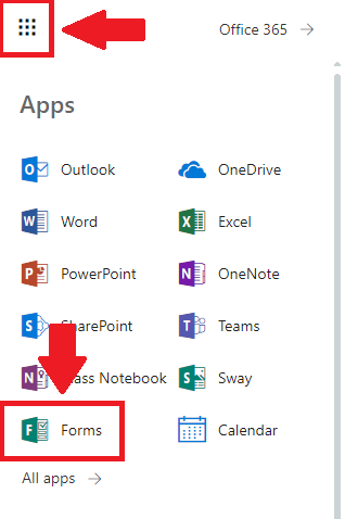 Visual representation of how to access Microsoft Forms from the Apps section of Office 365.