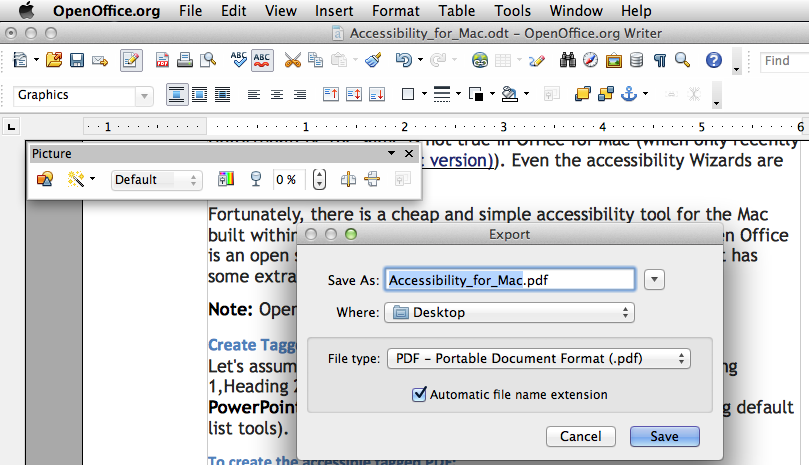 Sample image of exporing and naming a tagged PDF
