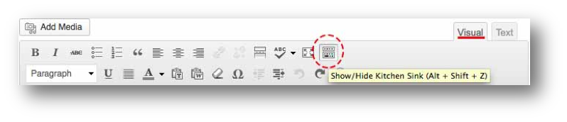 Screen shot of menu bar, attention brought to the Show/Hide Kitchen sink icon and the Visual tab. Key strokes Alt + Shift + Z.