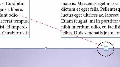 Example of Drag and dropping movement into text, in order to anchor a picture