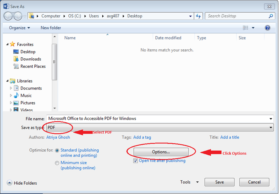 Image of navigation to save a PDF in Word 2013