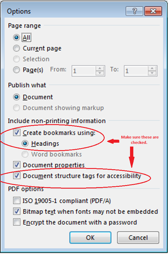 Image of Options screen to place headings and bookmarks