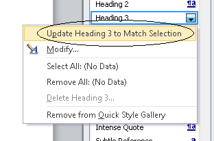 image of selecting the heading to match selection