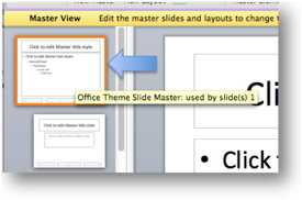 Description: View of the Master title slide, which is the first slide in the slide bar to the left of the screen.