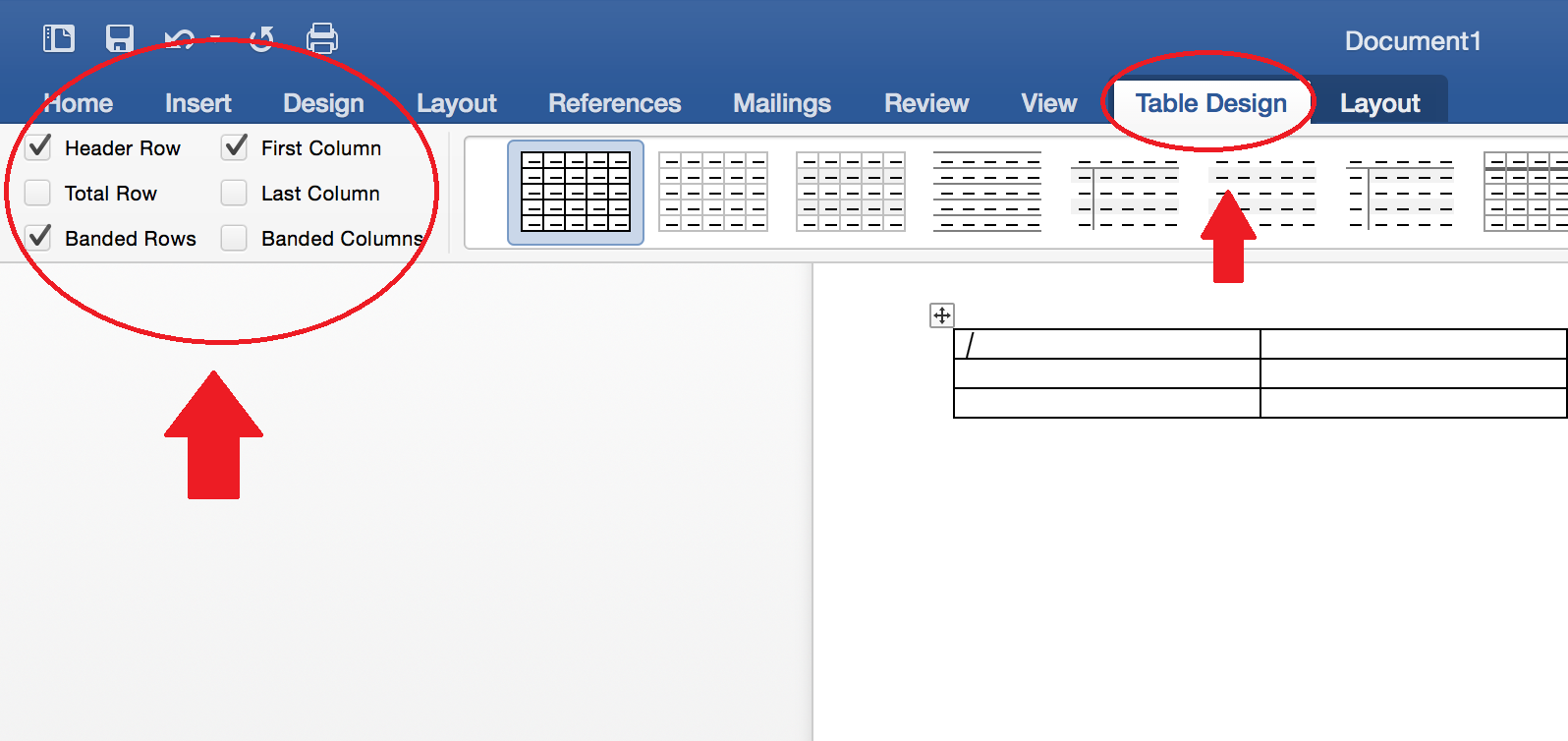 Tables tab in Office 2016