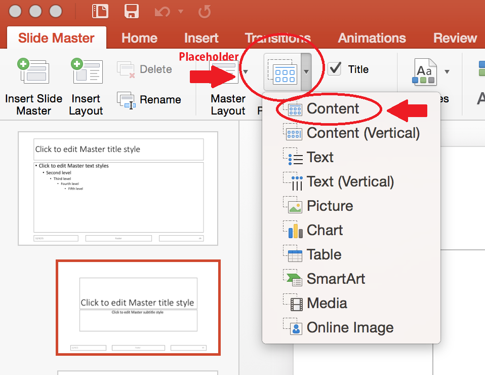 Screen shot highlighting New Layout button, Insert Placeholder drop down menu and directing the use of the Content Placeholder.